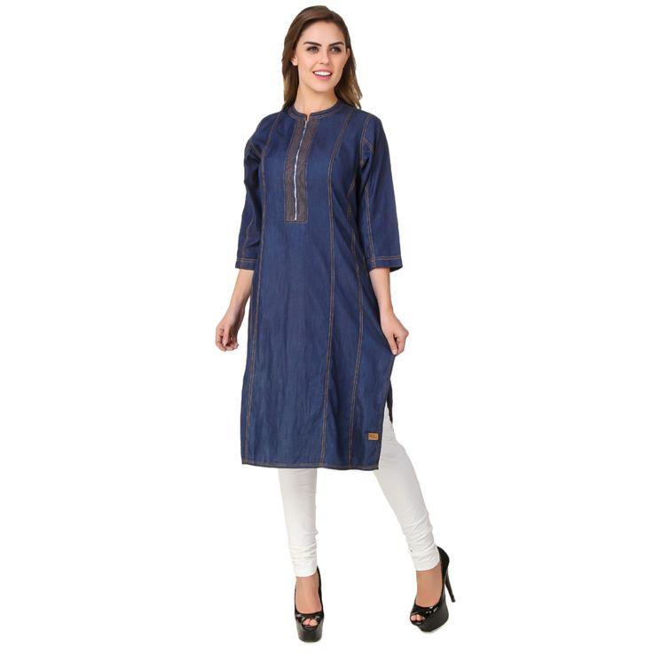 16 best Denim kurtis kurtees kurta images on Pinterest   Blue denim Denim tunic and Designer ...