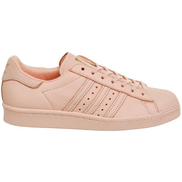 Superstar 80s Metal Toe Trainers by Adidas Supplied by Office (€86) ❤ liked on Polyvore featuring shoes, sneakers, pink, adidas sneakers, stripe shoes, adidas shoes, 1980s sneakers and 80s sneakers