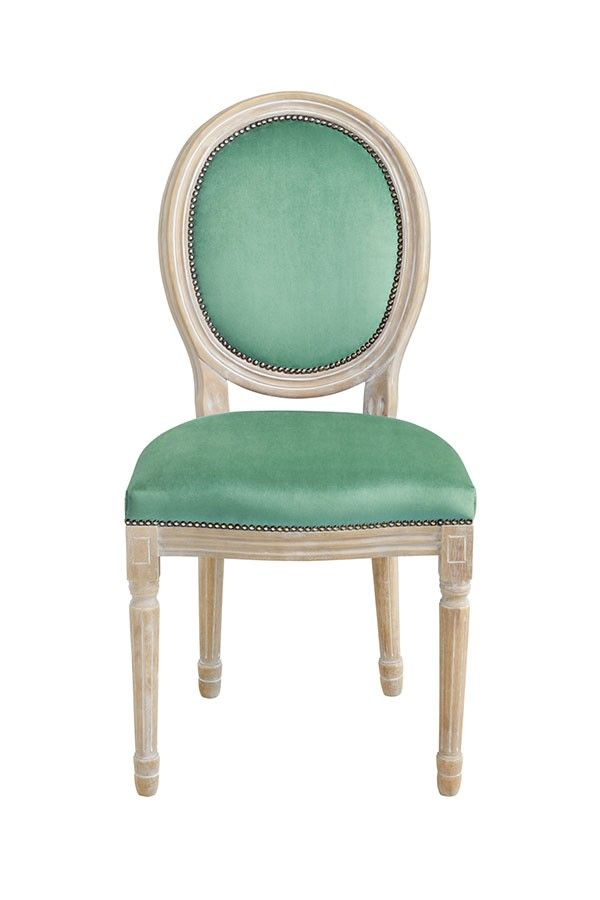 Beaumont French Louis Style Jade Chair Oval Back in Solid Birch
