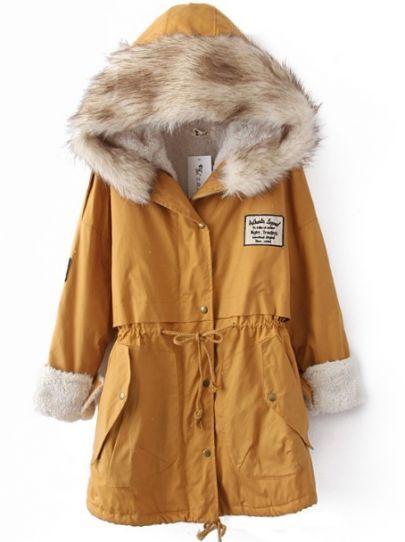 Yellow Fur Hooded Zipper Embellished Fleece Inside Military Coat