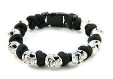 Black 550 Paracord Grinning Skull Bracelet With Snake Knots - US Seller