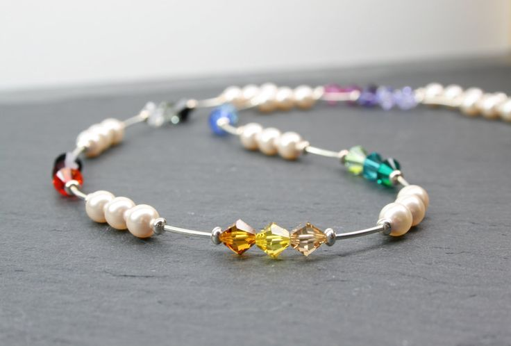 Rainbow Crystal Necklace, Rainbow Jewellery, Multicoloured, Pearl Necklace, Mothers Day, Swarovski Crystal, Sterling Silver, Gift For Mum by MystiqueBlueJewelry on Etsy