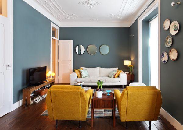 couleurs pour un salon vintage apartamento saldanha tiago patricio rodrigues 4 moutarde - Salon Bleu Vintage
