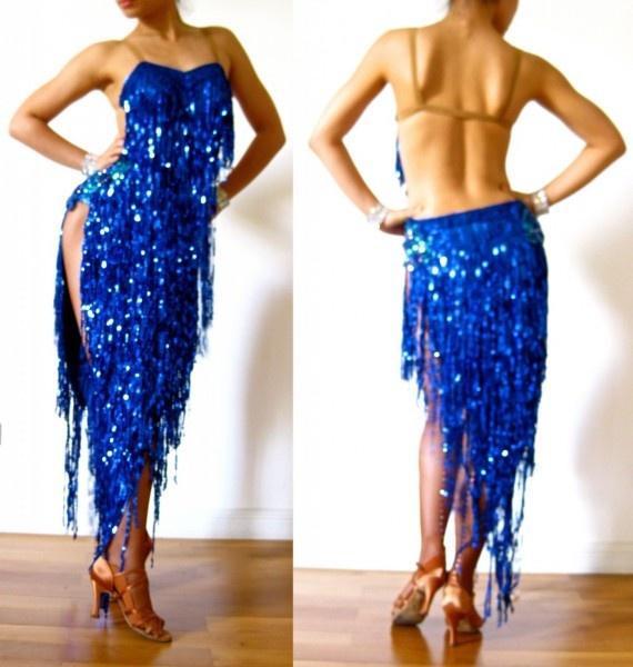 Royal blue Fringe Latin Dress