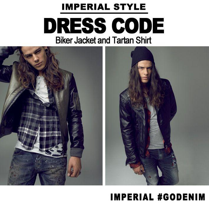 #dresscode #bikerjacket #tartanshirt
