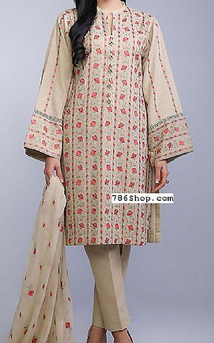 Beige Cotton Karandi Suit | Buy Bareeze Pakistani Dresses and Clothing online in USA, UK