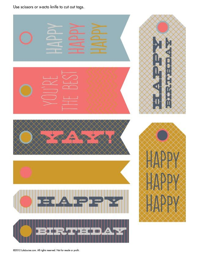 Free Printable – Happy Birthday Hangtags | Lula Louise