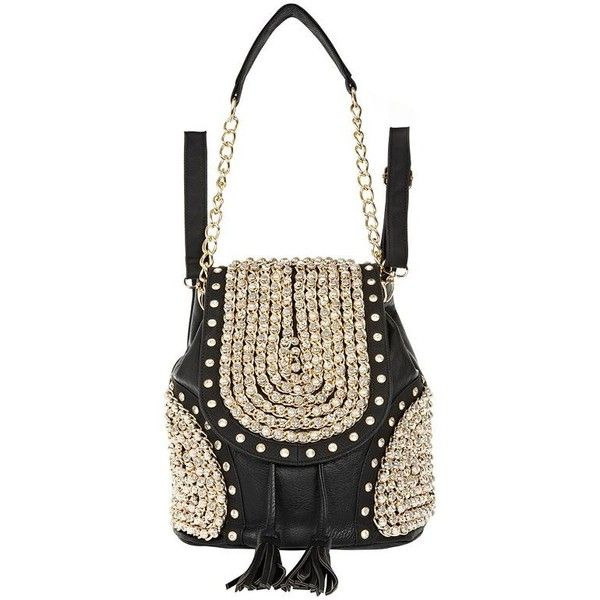 River Island Black studded chain strap rucksack (135 CAD) found on Polyvore
