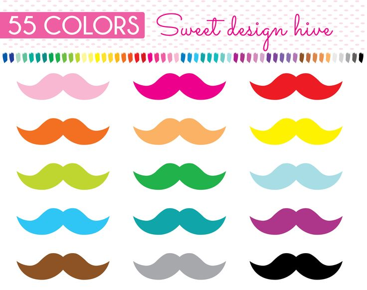 Mustache Clipart, hipster mustache, Mustache Bash Clipart, Rainbow, mustache png, planner clipart, Planner Stickers, Commercial Use  PL0128 by Sweetdesignhive on Etsy