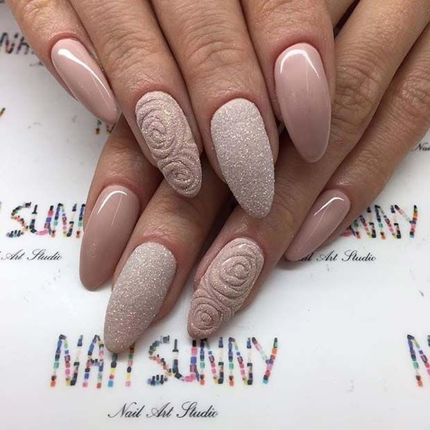 Neutral Sugar Glitter Almond Nails for Prom