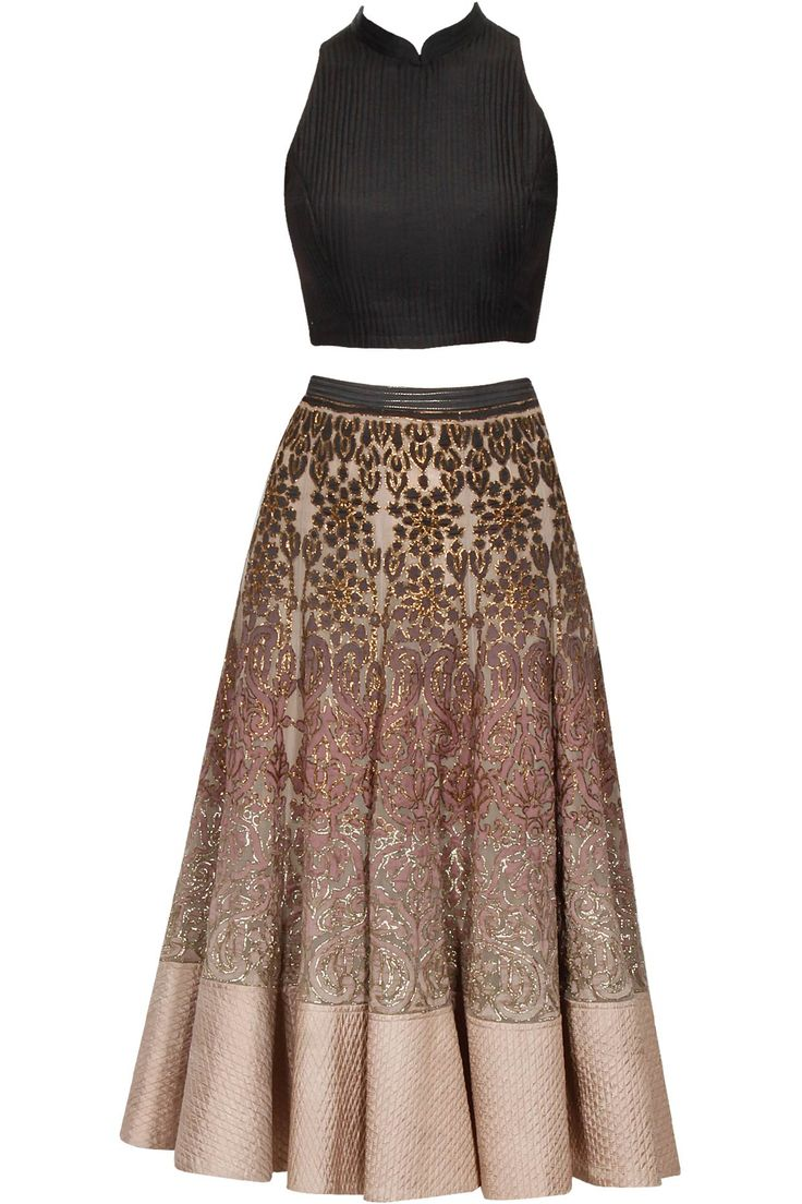 Black to old rose ombre dabka and chanderi ankle length lehenga and black crop top with organza scarf set available only at Pernia's Pop Up Shop.