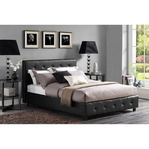 Black Queen Bed Headboard Set Tufted Faux Leather Modern Bedroom