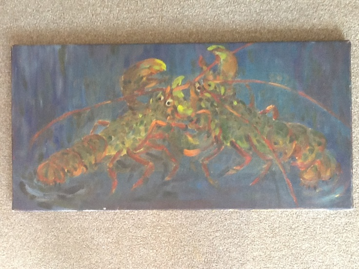 Lobsters. Oil on canvas. 50 cm x 30 cm