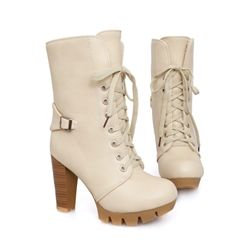 All-matched European style beige Chunky heels boots