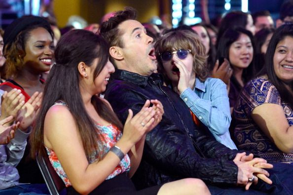 This is the most appropriate reaction to winning the 2014 Kids Choice Award for Favorite Male Buttkicker.  (Robert Downey Jr.)