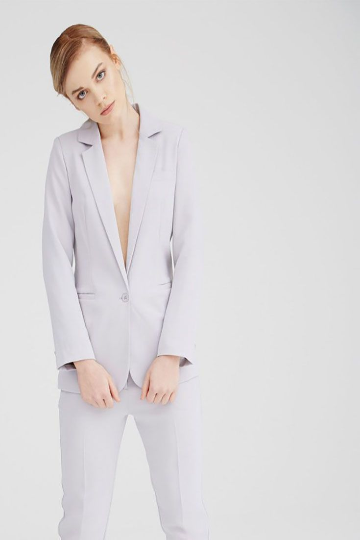 #Angie Grey Tailored #Blazer fully lined with single button fastening. 95% Viscose 5% Elastane