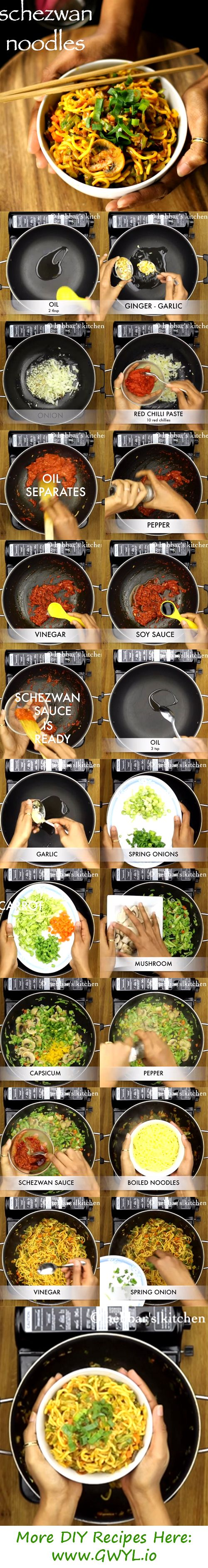 Schezuan Noodles is an authentic Chinese preparation of Hakka noodles with sautéed veggies and this Schezuan sauce. Prepared with veggies typically used in Oriental cooking, this recipe will be one of your favorites. See video and written instructions here==> | Easy-To-Cook Schezwan Noodles Recipe | http://gwyl.io/easy-cook-schezwan-noodles-recipe/