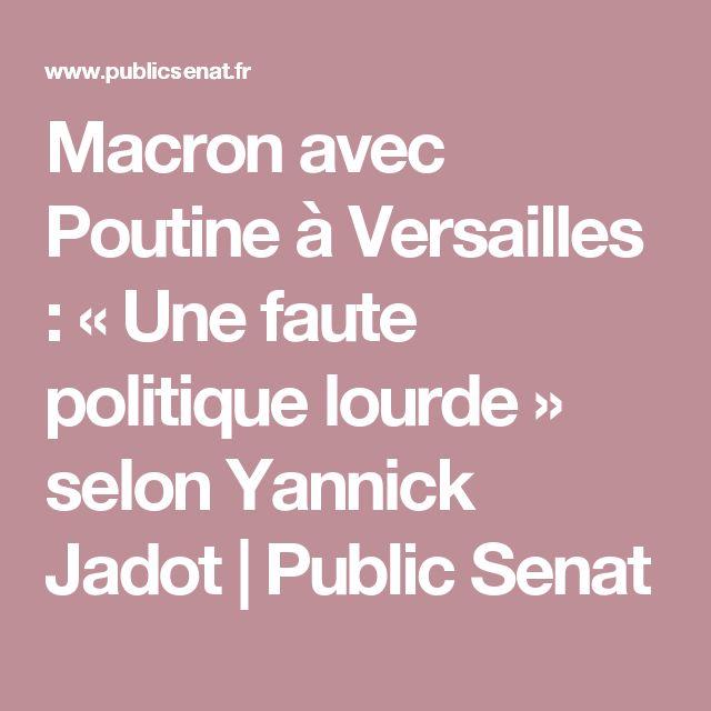 Macron avec Poutine à Versailles : « Une faute politique lourde » selon Yannick Jadot | Public Senat