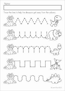 Dinosaur Preschool Math and Literacy No Prep worksheets and activities. A page from the unit: pre-writing tracing practice.