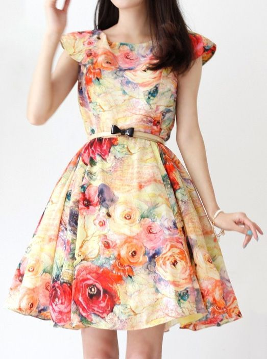 Beautiful Colorful Flower Dress