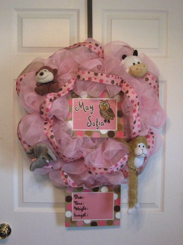Custom Birth/ Baby Shower / Baby Welcome / Hospital Door Wreath/Girl. $58.99, via Etsy.