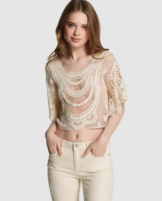 Top de crochet de mujer Green Coast en color crudo