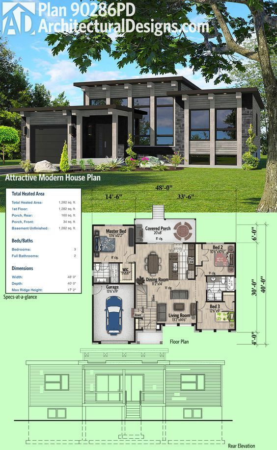 Architectural Designs Modern House Plan 90286PD has a window-filled facade and a covered porch in back. 3 beds and over 1,200 square feet of heated living space.  Ready when you are. Where do YOU want to build?