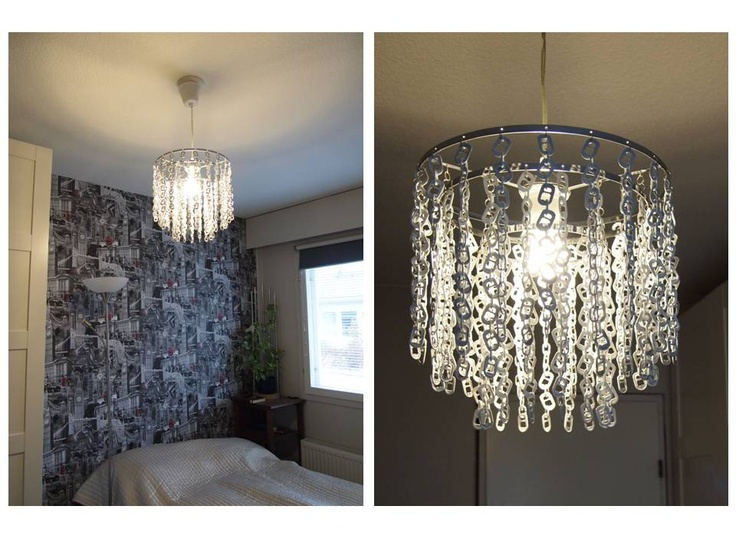 DIY Bedroom lamp from can tabs