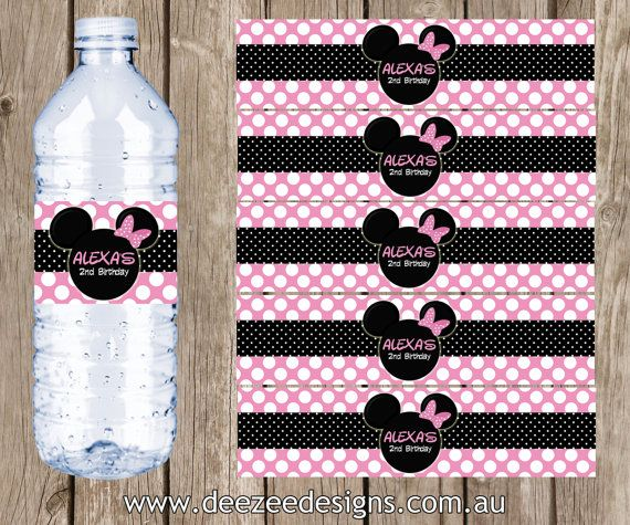 Personalised Minnie Mouse Water Bottle Labels - You Print