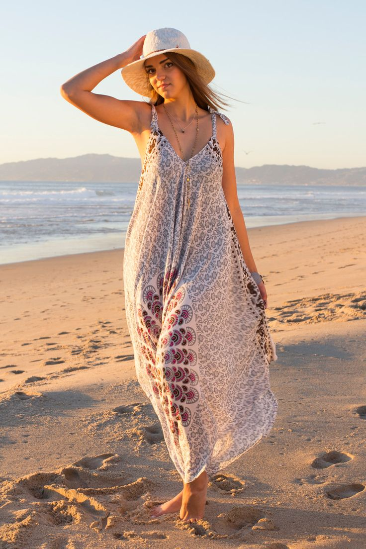 Wide Leg Womens Gypsy Long Jumpsuit in Grey and White Peacock
