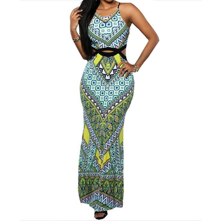 2016 Summer Style Women New Fashion Vintage Geometric Print Boho Dress Sexy Casual Party Beach Dresses Vestidos