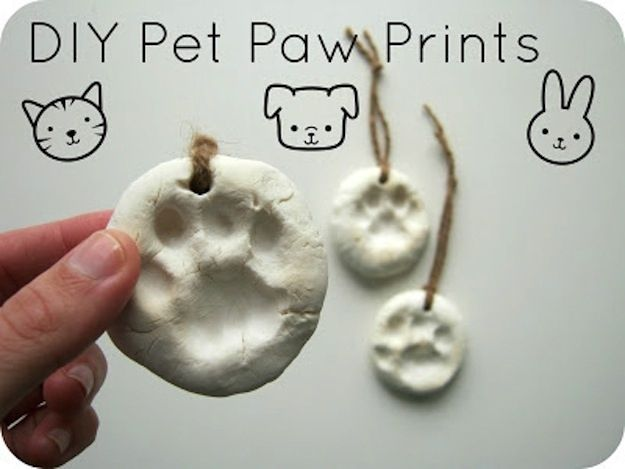 Show your little guy how deeply you love him by inscribing his paw prints in clay. | 26 DIYs Your Pet Will Totally Appreciate