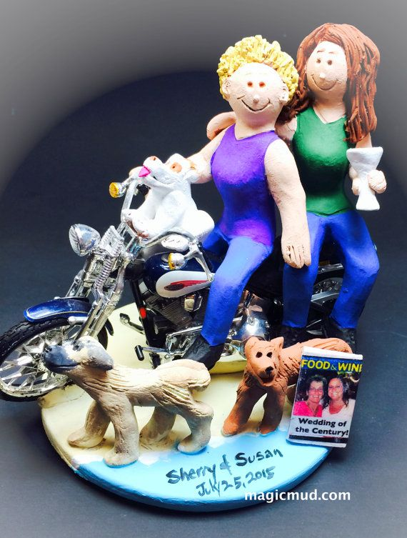 Lesbians on a Motorcycle Wedding Cake Topper    Lesbian Wedding Cake Topper, created just for you!    $235   #magicmud   1 800 231 9814   www.magicmud.com