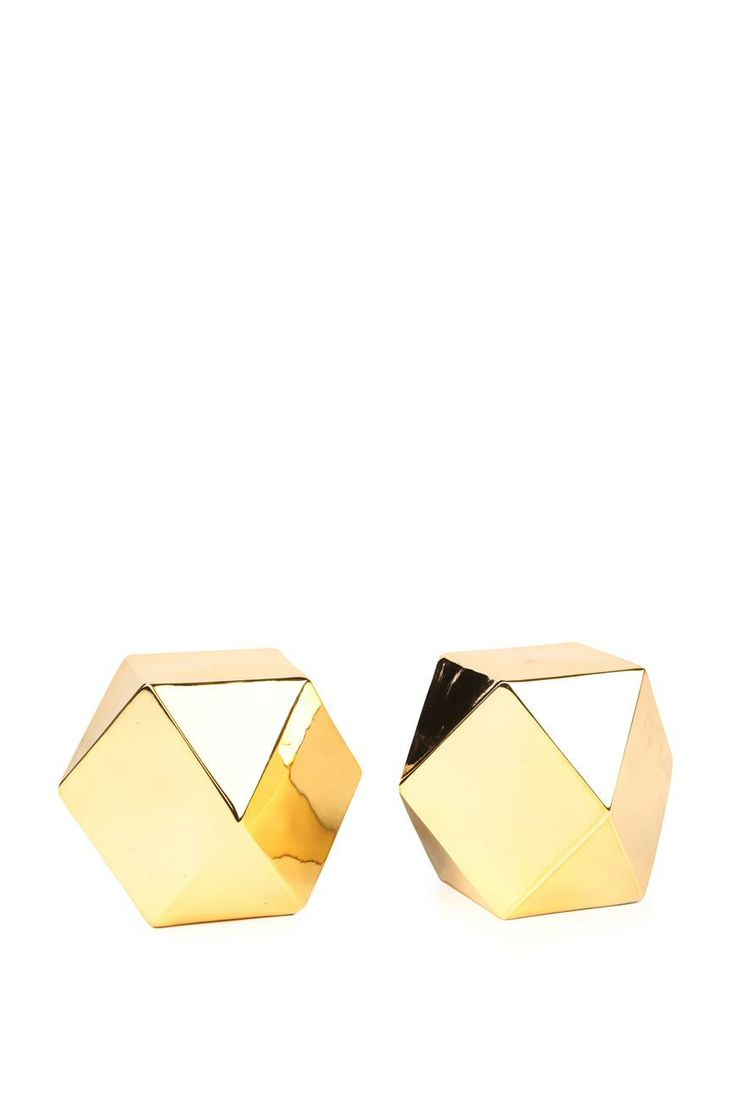Hexagon metalic gold novelty bookends #gold #books #bookends #decor #typoshop | Typo www.typo.com.au