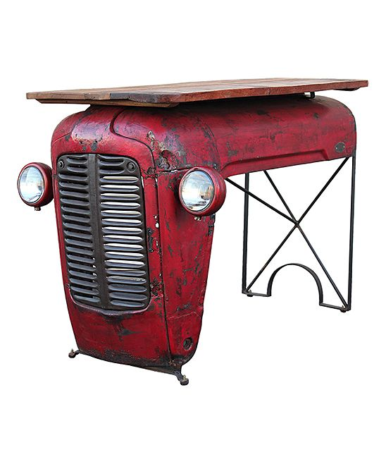 Wood-Top Vintage Tractor Writing Table