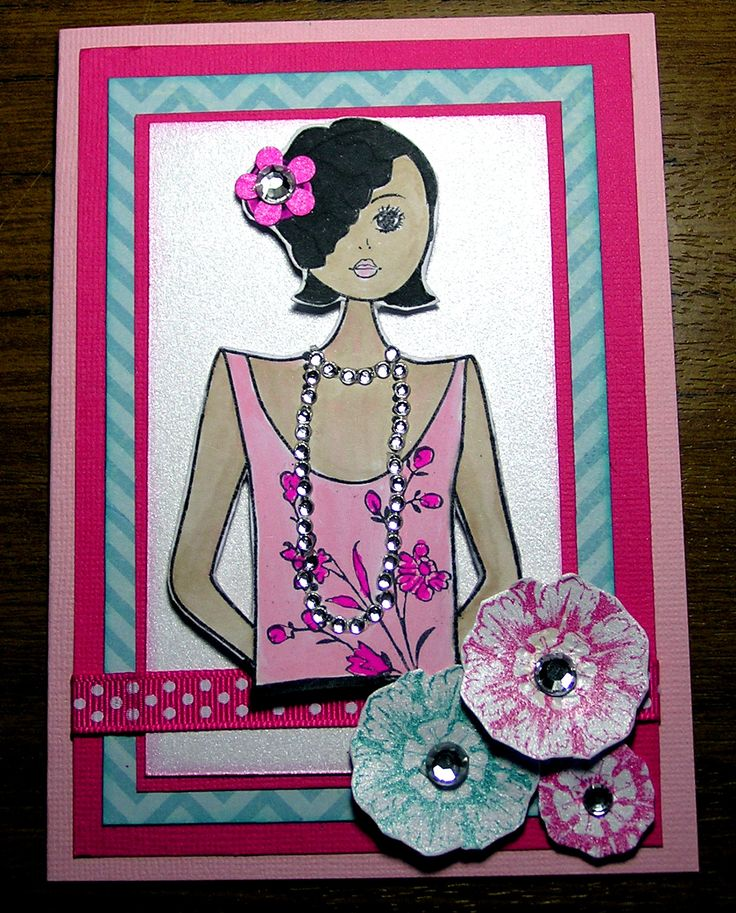 """My """"Annie"""" card created with Kaszazz stamps and papers."""