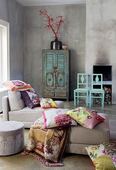 Home Decor: Grey Boho living or sitting room, with shabby chic style turquoise wood furniture and bright colored pillows & throw blankets