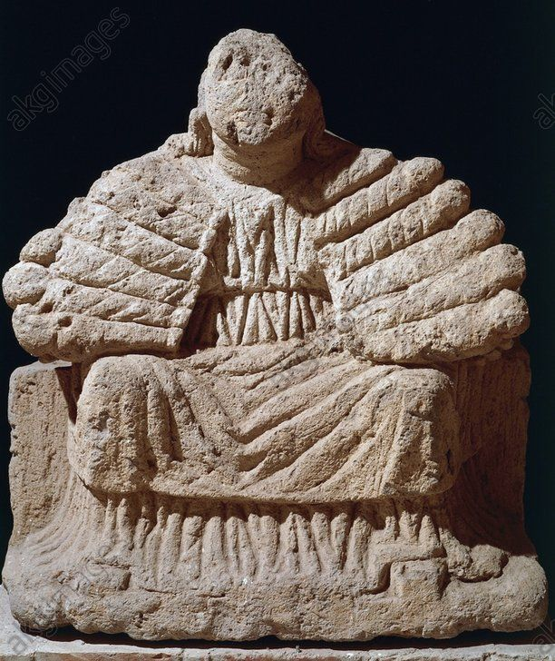 MATER MATUTA, GODDESS OF DAWN, PROTECTRESS OF FERTILITY AND BIRTH, STATUE IN TUFF, ITALIC CIVILIZATION, 4TH–3RD CENTURY BC. Mater Matuta, goddess of the dawn, protectress of fertility and birth, statue in tuff. Italic civilisation, 4th–3rd century BC. Capua, Museo Provinciale Campano (Archaeological Museum)
