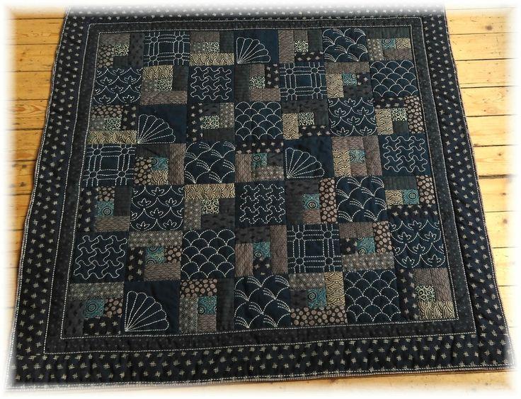 Sashiko patchwork quilt