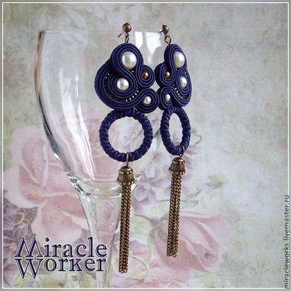 """Серьги """"Парижская ночь"""" - тёмно-синий,сине-фиолетовый,жемчужный,серьги с жемчугом"""