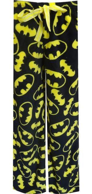 WebUndies.com DC Comics Classic Batman Angel Fleece Black Lounge Pants