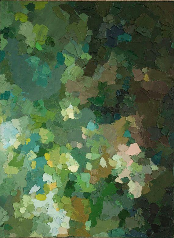 Heart of the Matter - Original peinture à l'huile abstraite (29x39cm -. Application 11.4x15.4in) dans les verts boisés feuillus et rose pâle et reflets jaunes