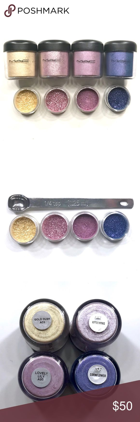 💜Pre Black Friday MAC Pigment Sample Set💜 You'll receive 1/4 Teaspoon of each pigment;  1.  Gold Dusk  2. Kitschmas  3. Lovely Lilly 4. Cornflower                                                                                 Pigments come in 3g BPA Free jars with 1/4 teaspoon of each color and a handwritten label on bottom. MAC Cosmetics Makeup Eyeshadow