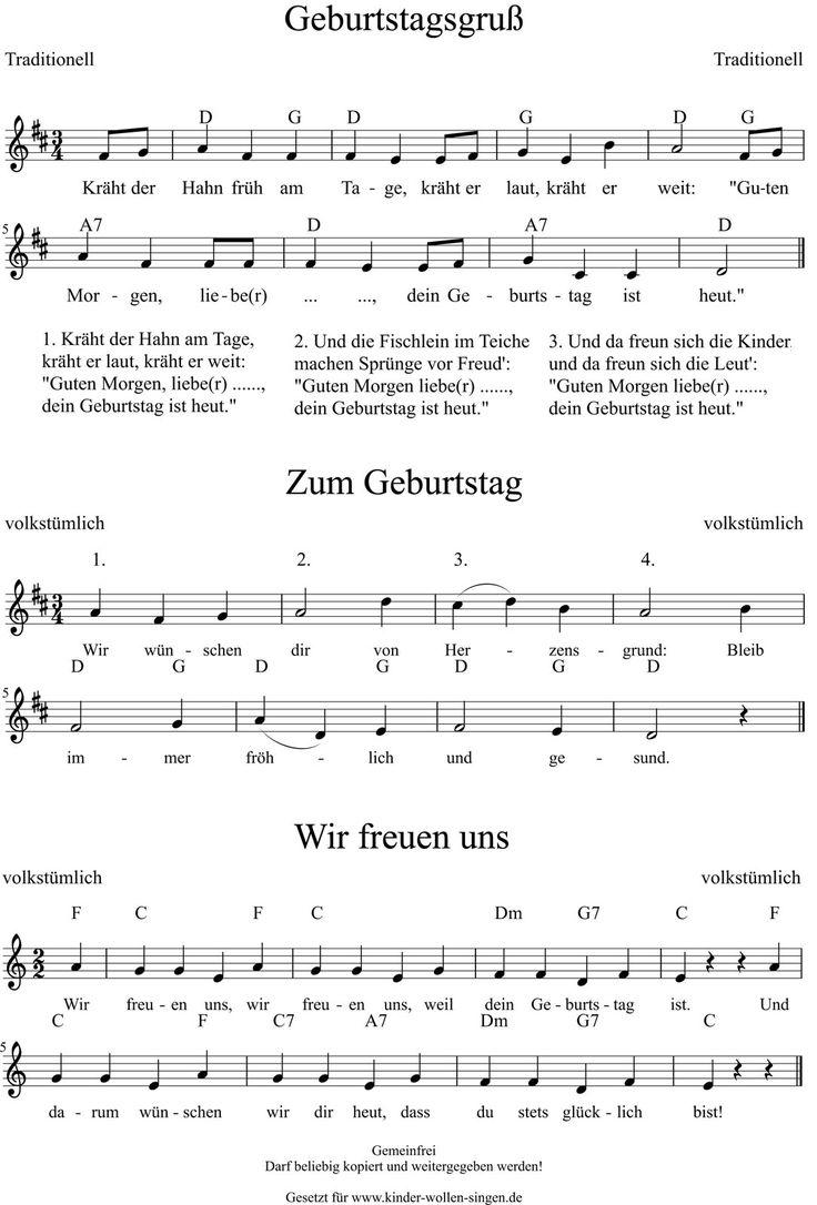 3 kostenlose #Geburtstagslieder mit #Noten und #Text | Kinderlieder für den Kindergeburtstag (Geburtstagsgruß - Zum Geburtstag - Wir freuen uns)