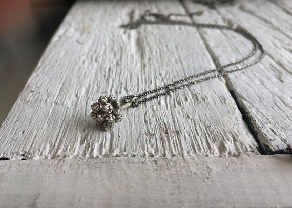 Nature necklace-Sterling silver tiny pendant Succulent