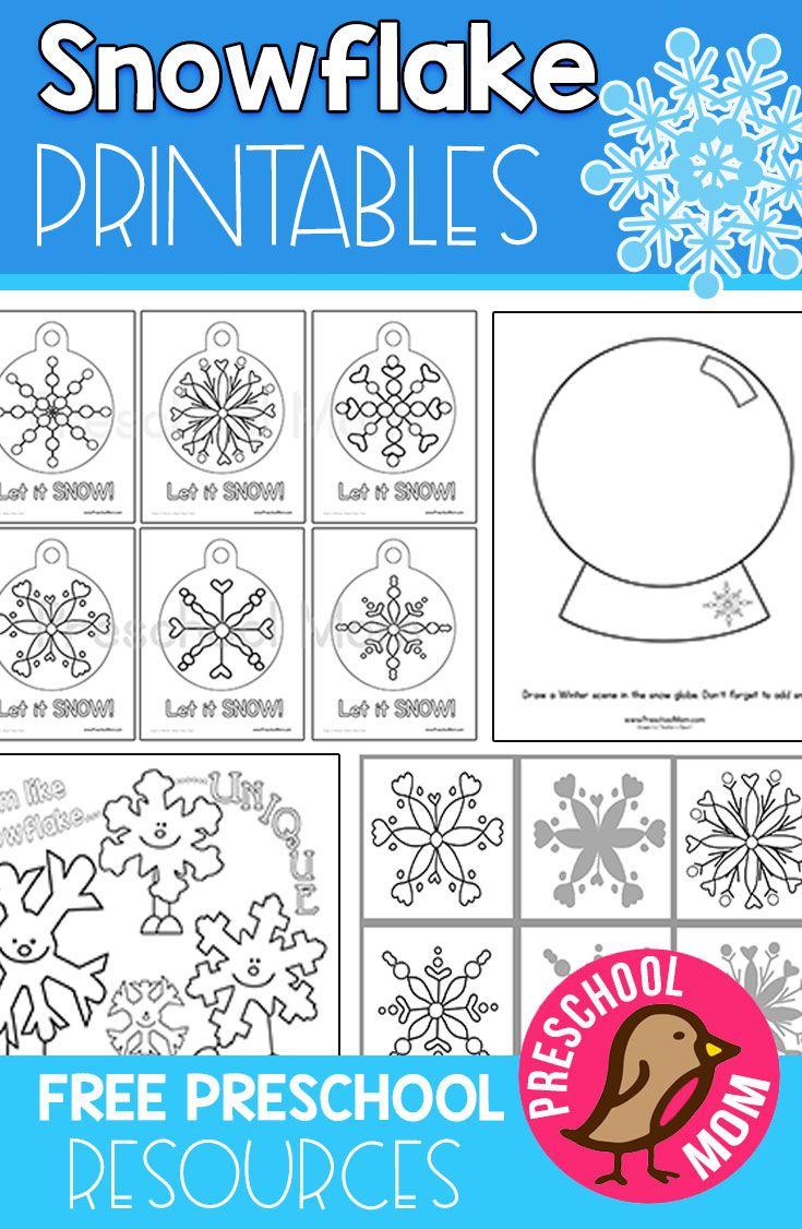 Free snowflake preschool printables elementary ideas preschool