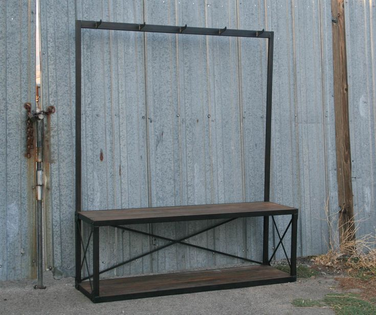 custom sizing available approx $1000 Industrial Coat Rack with Bench