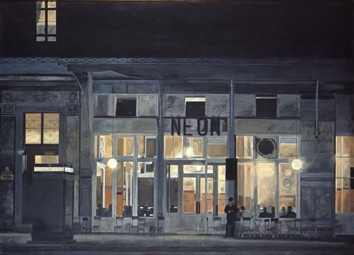 Cafe ''Neon'' at night  - Yiannis Tsaroychis