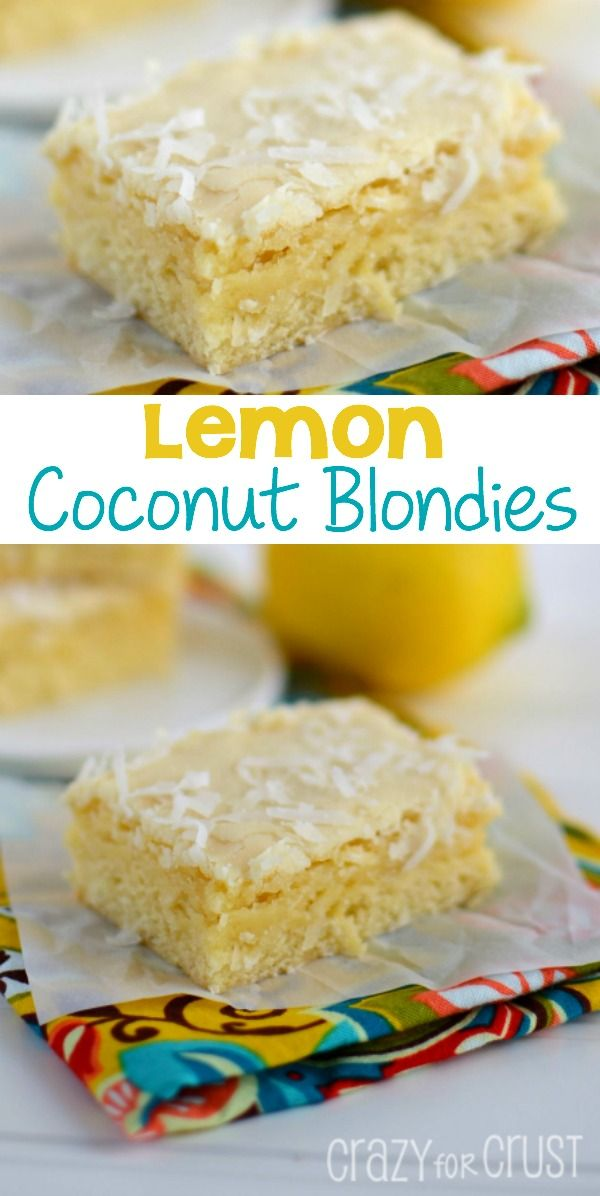Lemon Coconut Blondies - an easy blondie recipe filled with lemon and coconut, perfect for spring!