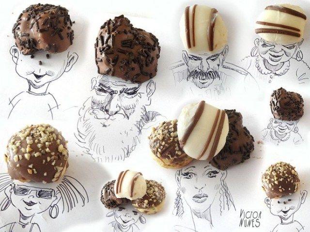 線畫與日常生活物品的生動呈現。Victor Nunes 和巧克力球